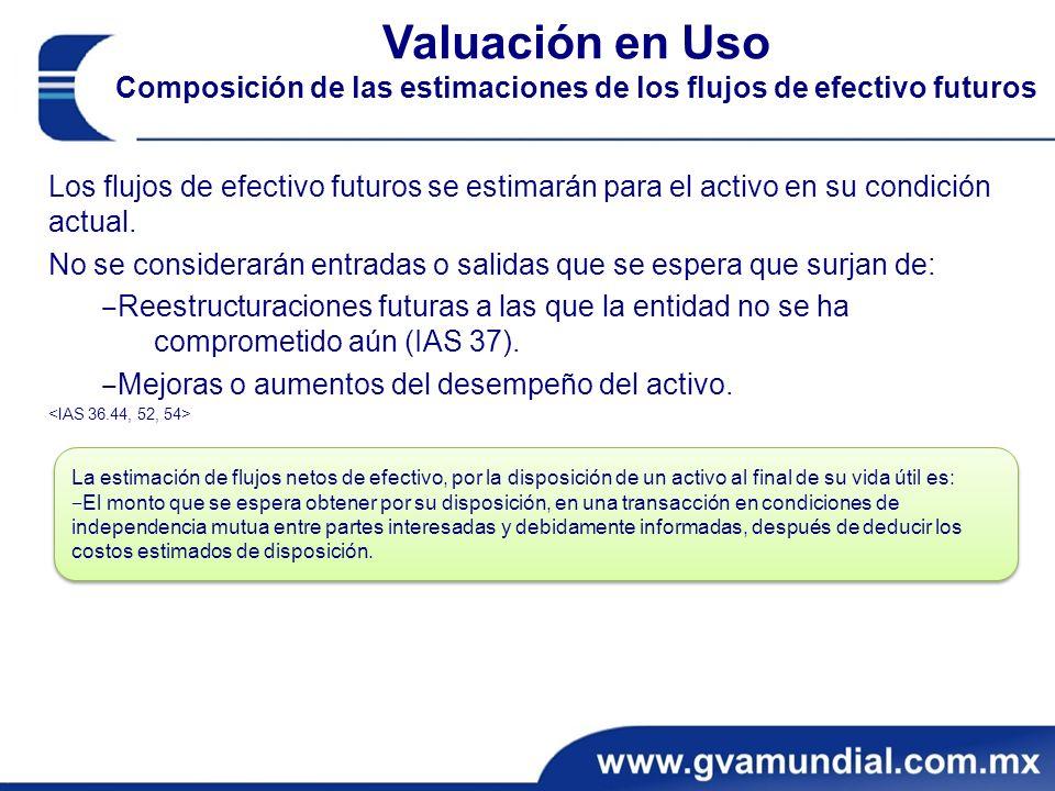 Valuación en Uso Composición de las estimaciones de los flujos de efectivo futuros