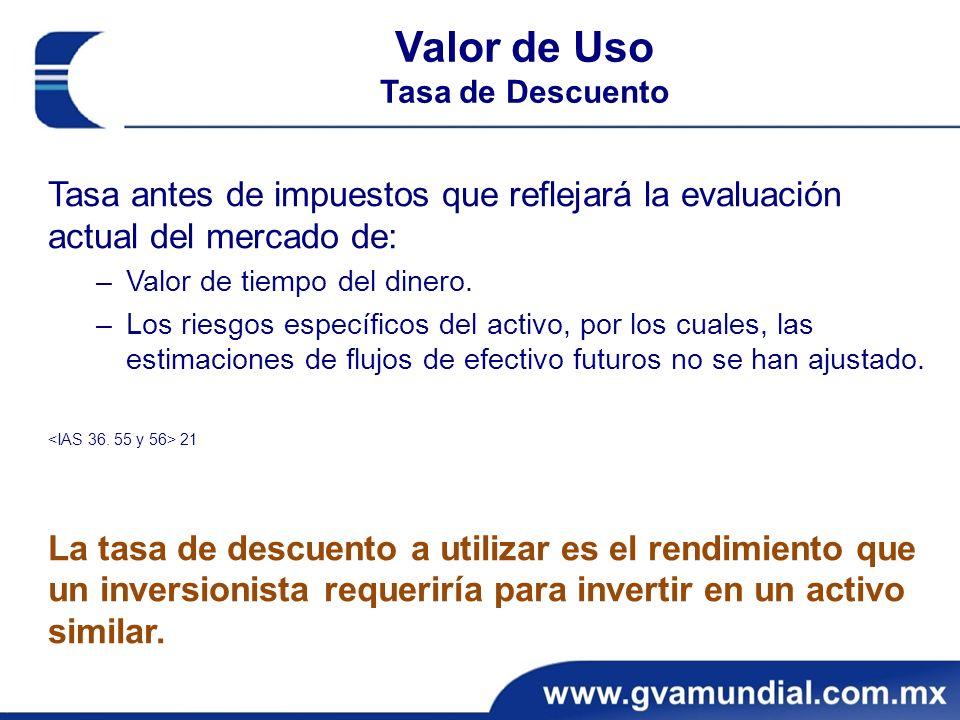 Valor de Uso Tasa de Descuento. Tasa antes de impuestos que reflejará la evaluación actual del mercado de: