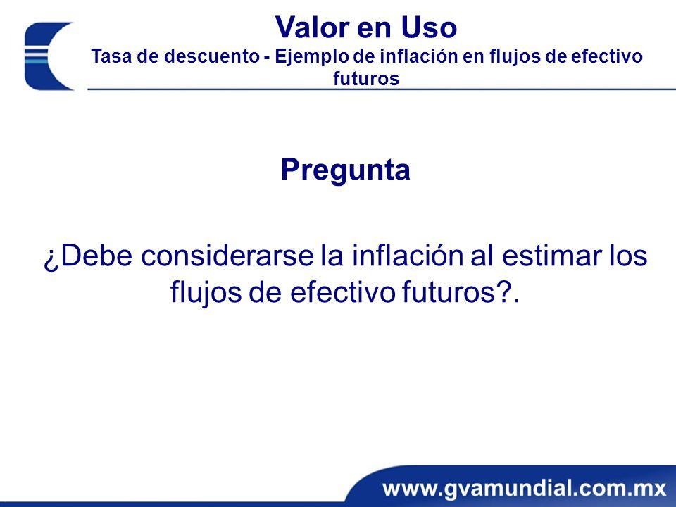 Valor en Uso Tasa de descuento - Ejemplo de inflación en flujos de efectivo futuros
