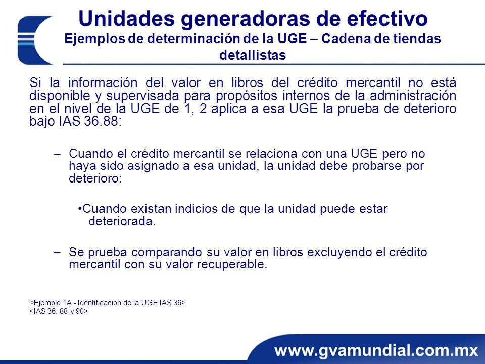Unidades generadoras de efectivo Ejemplos de determinación de la UGE – Cadena de tiendas detallistas