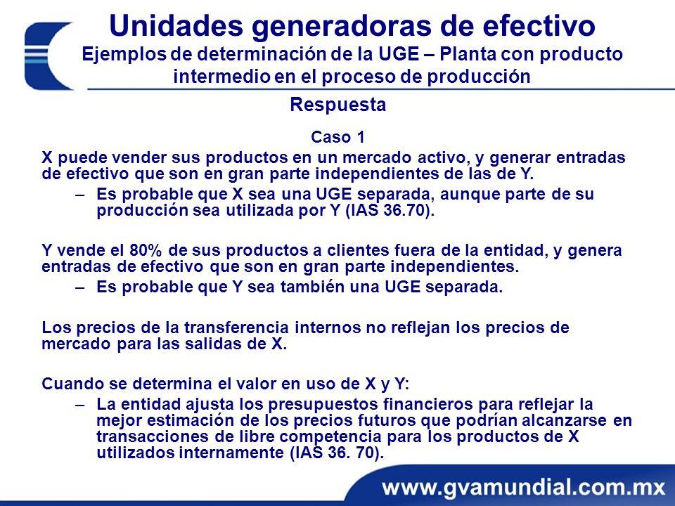 Unidades generadoras de efectivo Ejemplos de determinación de la UGE – Planta con producto intermedio en el proceso de producción