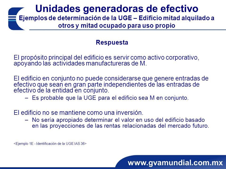 Unidades generadoras de efectivo Ejemplos de determinación de la UGE – Edificio mitad alquilado a otros y mitad ocupado para uso propio