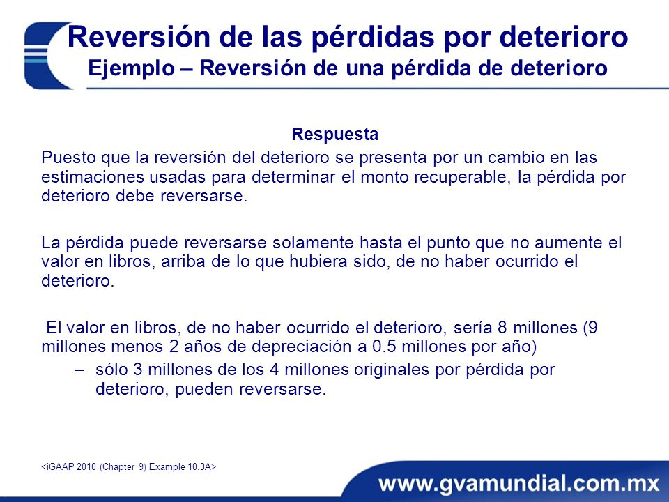 Reversión de las pérdidas por deterioro Ejemplo – Reversión de una pérdida de deterioro