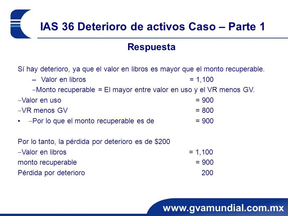 IAS 36 Deterioro de activos Caso – Parte 1