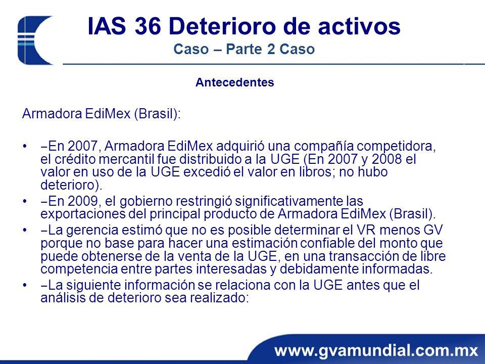 IAS 36 Deterioro de activos Caso – Parte 2 Caso
