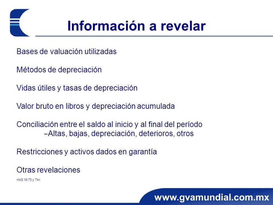 Información a revelar Bases de valuación utilizadas