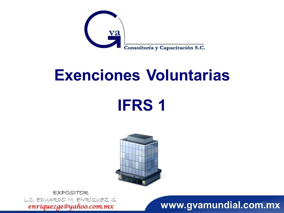 Exenciones Voluntarias IFRS 1