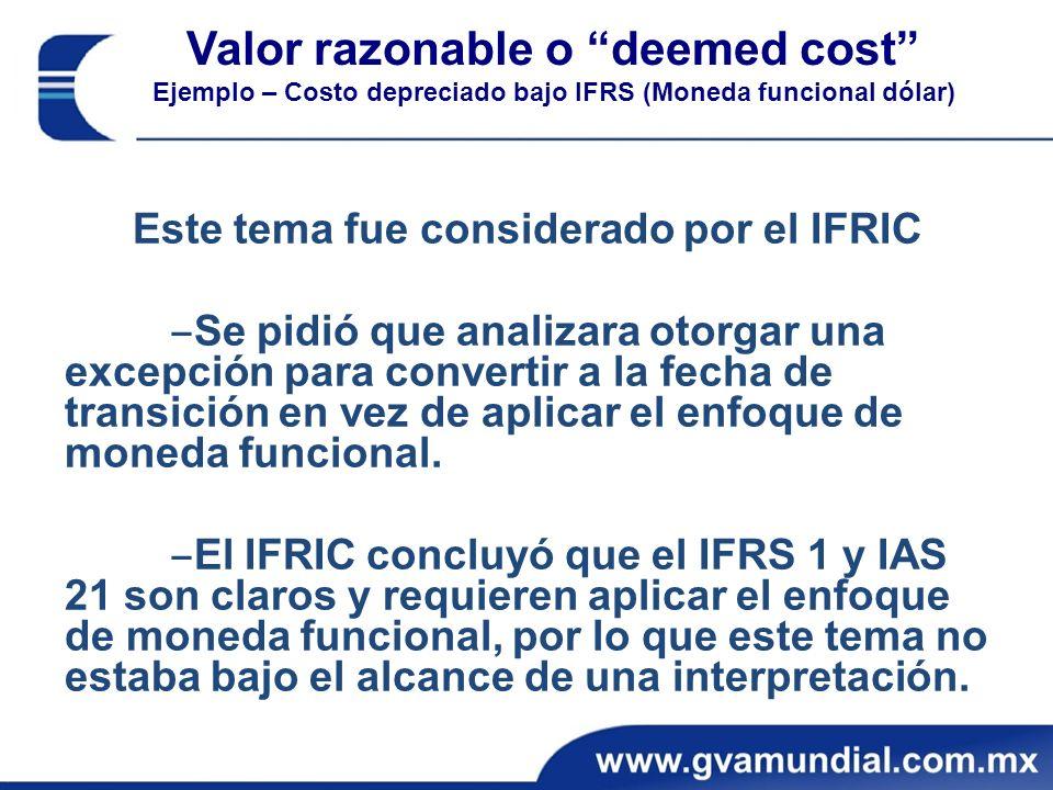 Este tema fue considerado por el IFRIC