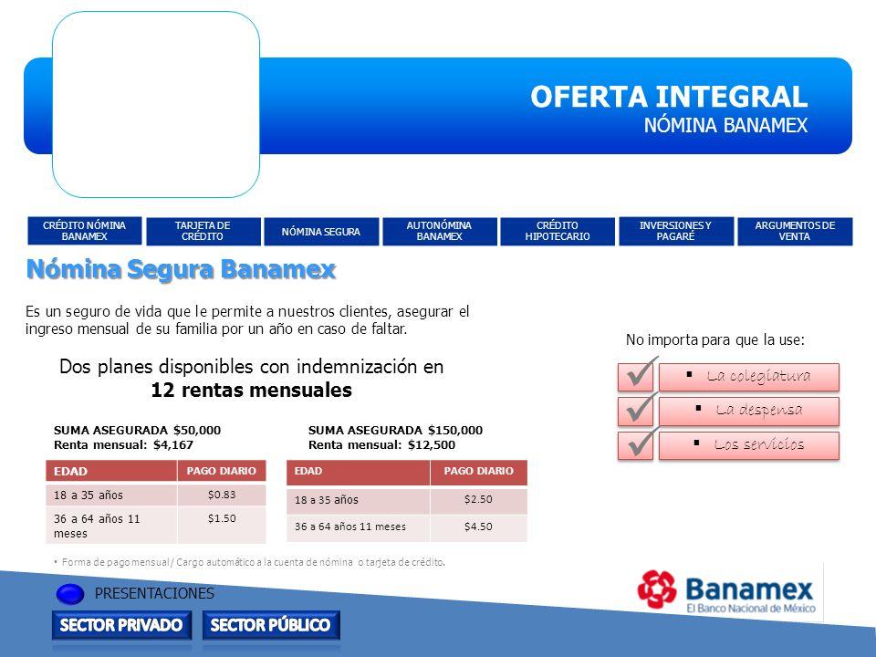 OFERTA INTEGRAL OFERTA INTEGRAL Nómina Segura Banamex NÓMINA BANAMEX