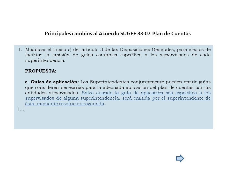 Principales cambios al Acuerdo SUGEF 33-07 Plan de Cuentas