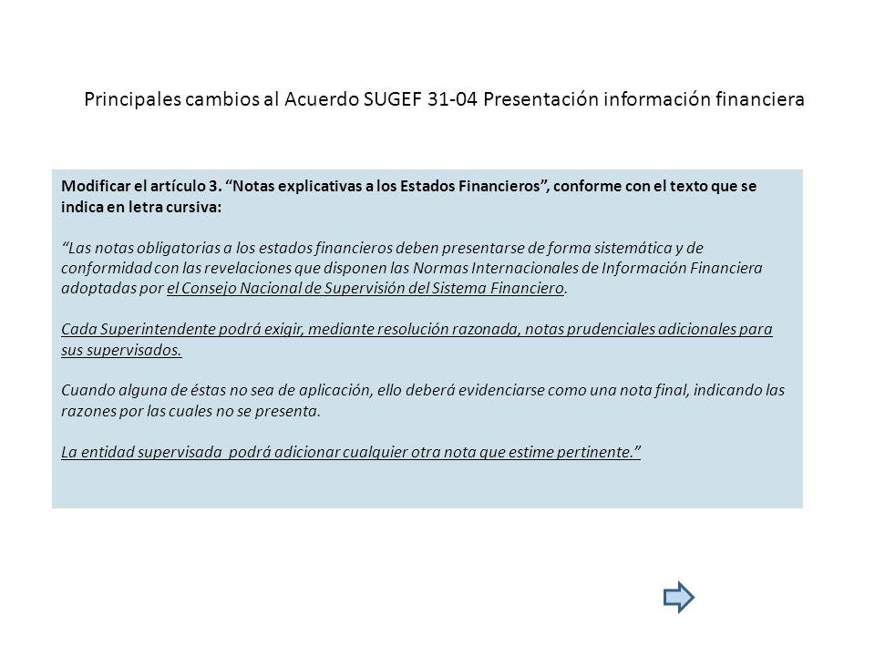 Principales cambios al Acuerdo SUGEF 31-04 Presentación información financiera