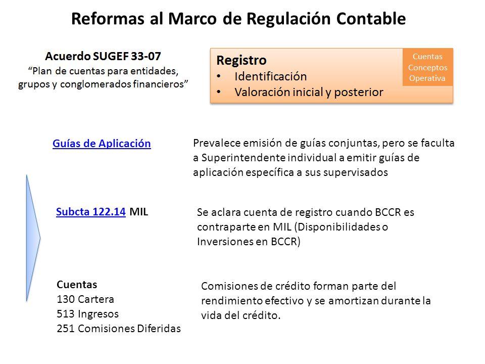 Reformas al Marco de Regulación Contable