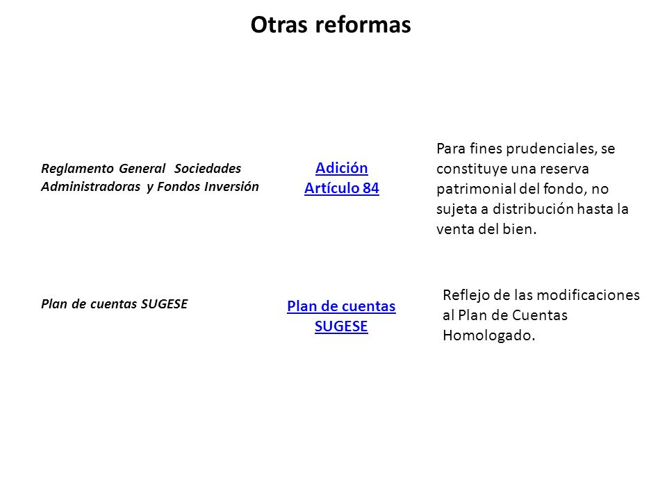 Otras reformas Para fines prudenciales, se constituye una reserva patrimonial del fondo, no sujeta a distribución hasta la venta del bien.