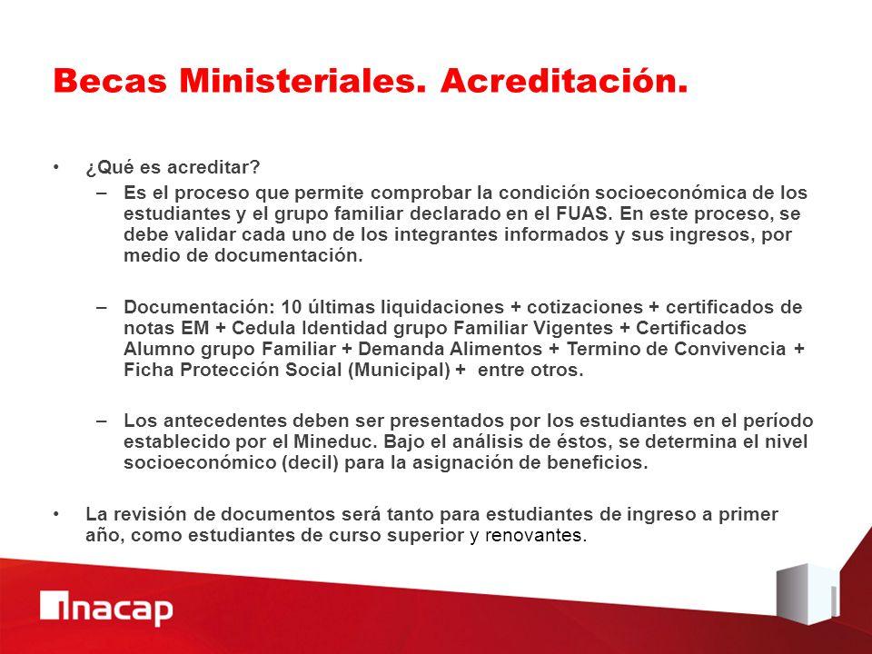 Becas Ministeriales. Acreditación.