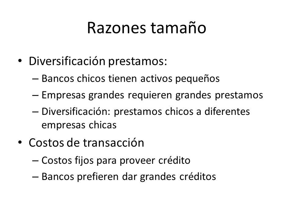 Razones tamaño Diversificación prestamos: Costos de transacción