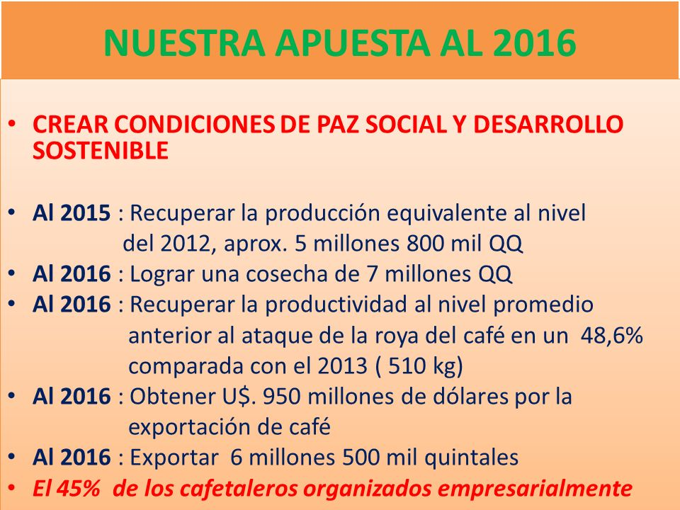 NUESTRA APUESTA AL 2016 CREAR CONDICIONES DE PAZ SOCIAL Y DESARROLLO SOSTENIBLE. Al 2015 : Recuperar la producción equivalente al nivel.