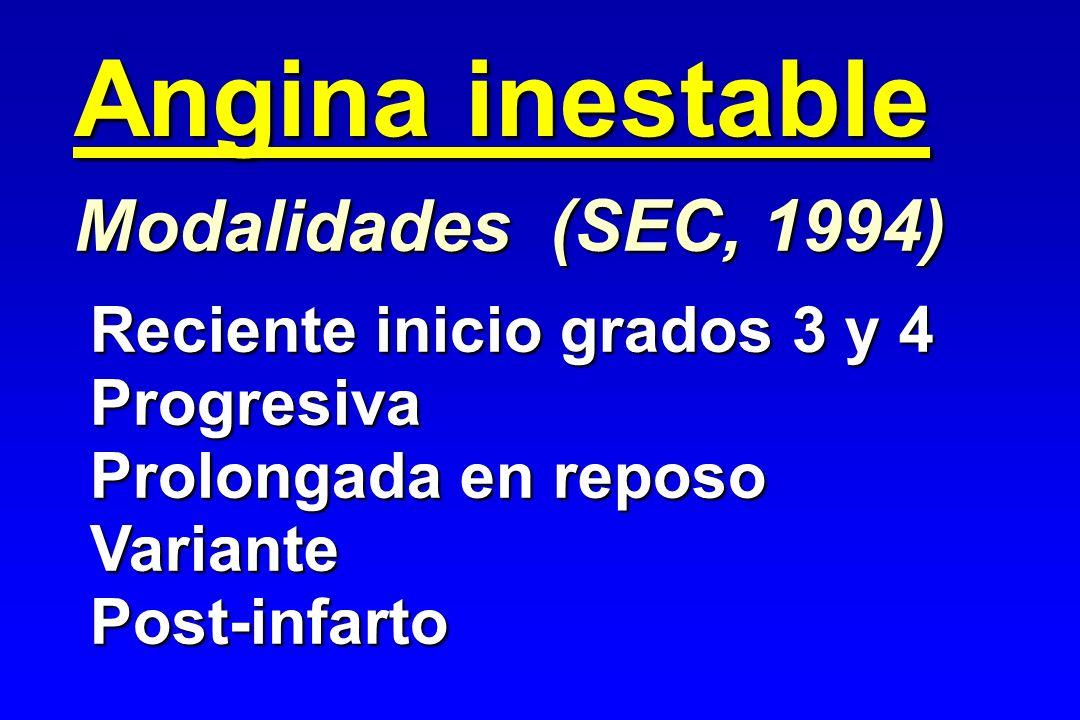 Angina inestable Modalidades (SEC, 1994) Reciente inicio grados 3 y 4