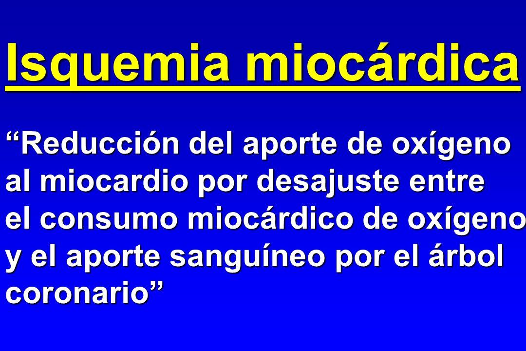 Isquemia miocárdica Reducción del aporte de oxígeno