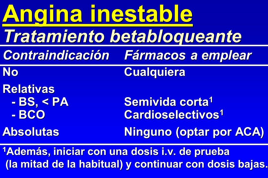 Angina inestable Tratamiento betabloqueante