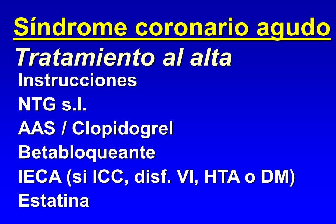 Síndrome coronario agudo Tratamiento al alta