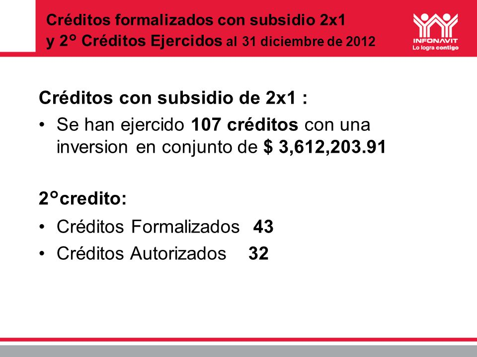 Créditos con subsidio de 2x1 :