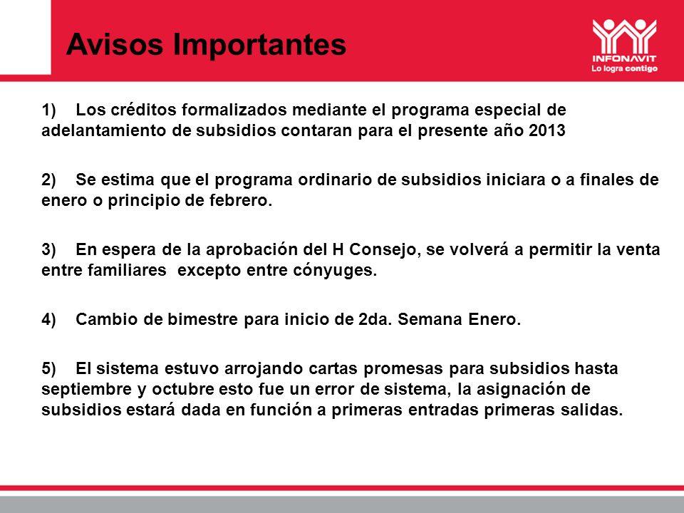 Avisos Importantes 1) Los créditos formalizados mediante el programa especial de adelantamiento de subsidios contaran para el presente año 2013.