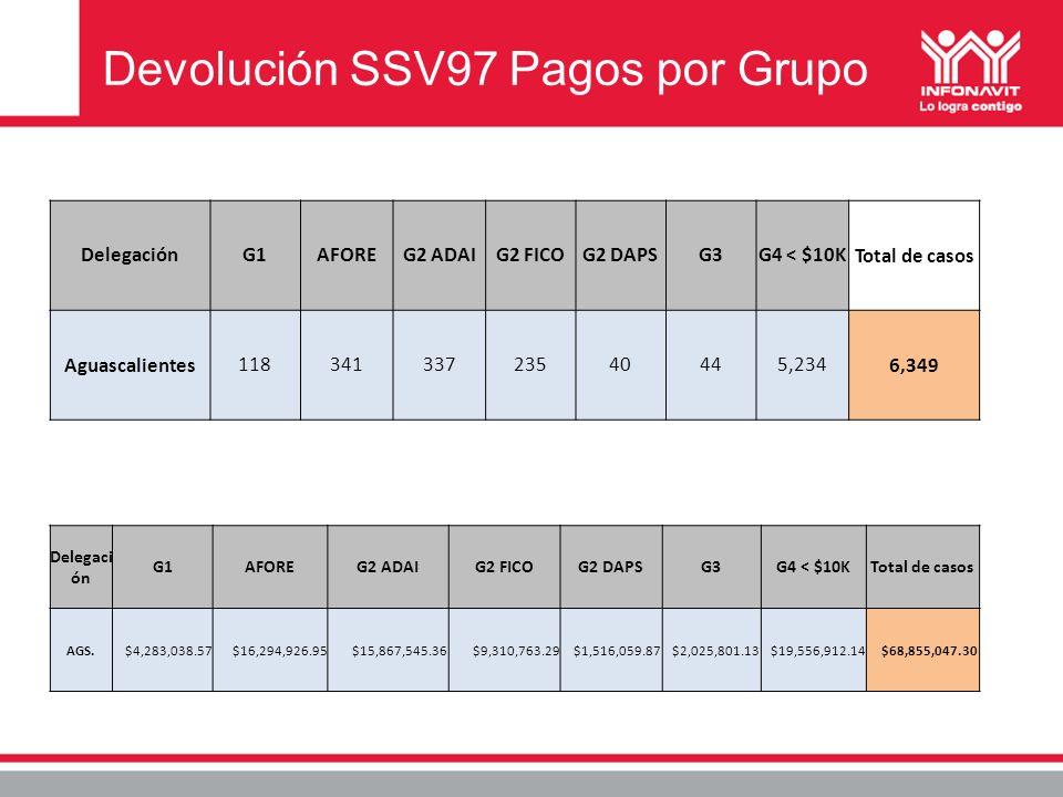 Devolución SSV97 Pagos por Grupo