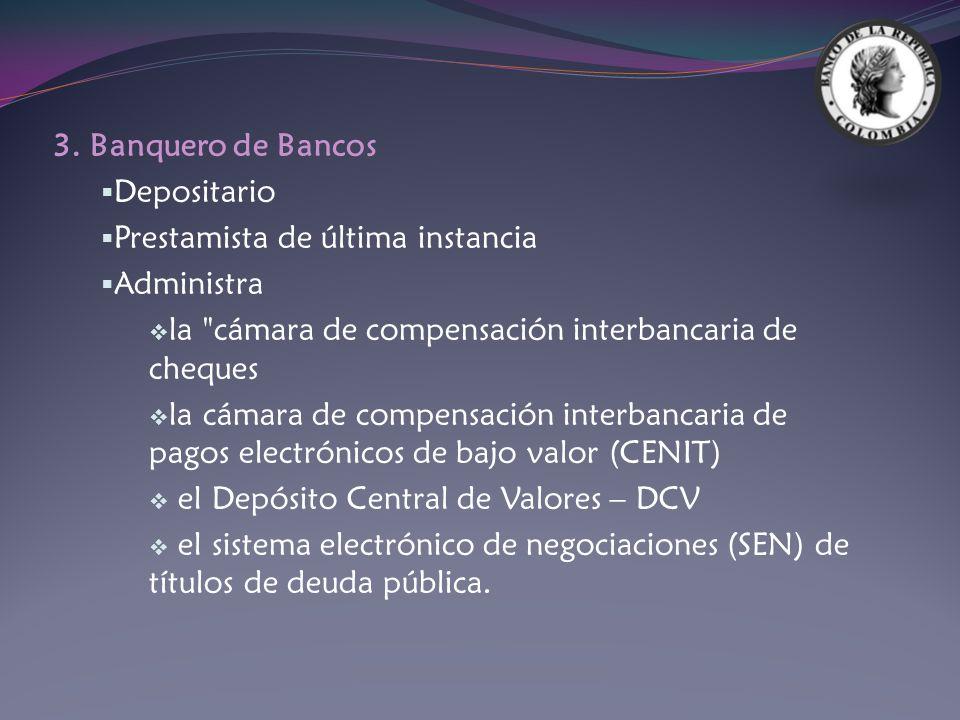 3. Banquero de Bancos Depositario. Prestamista de última instancia. Administra. la cámara de compensación interbancaria de cheques.