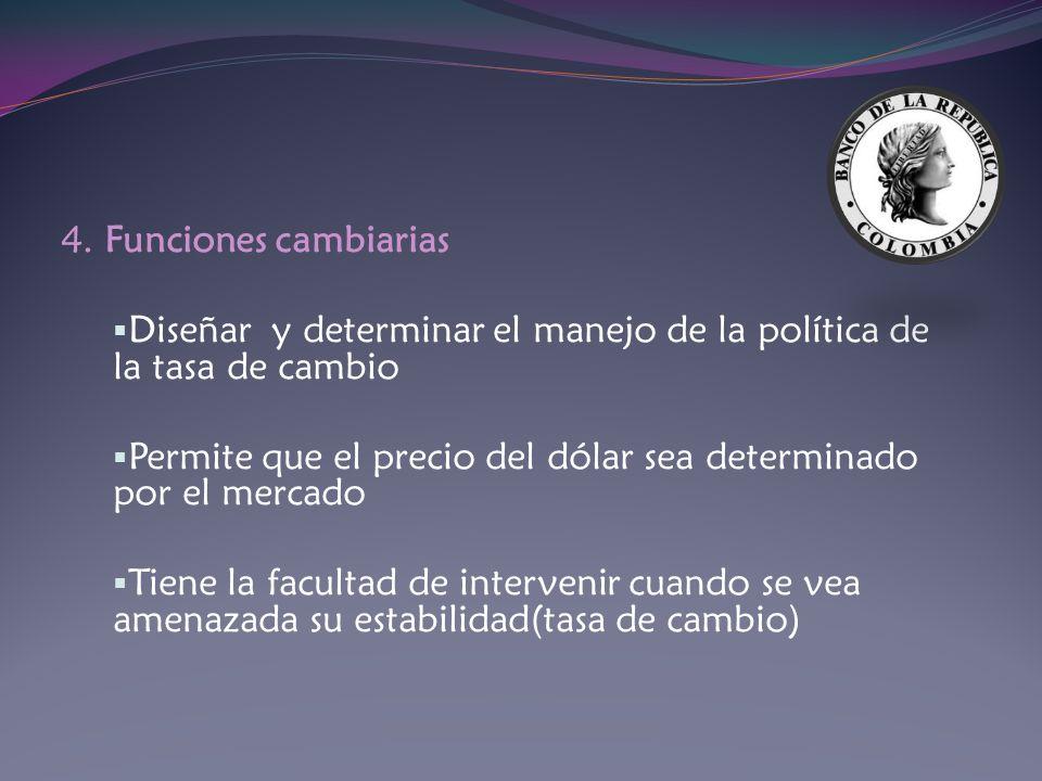 4. Funciones cambiarias Diseñar y determinar el manejo de la política de la tasa de cambio.
