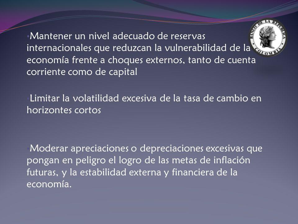 Mantener un nivel adecuado de reservas internacionales que reduzcan la vulnerabilidad de la economía frente a choques externos, tanto de cuenta corriente como de capital