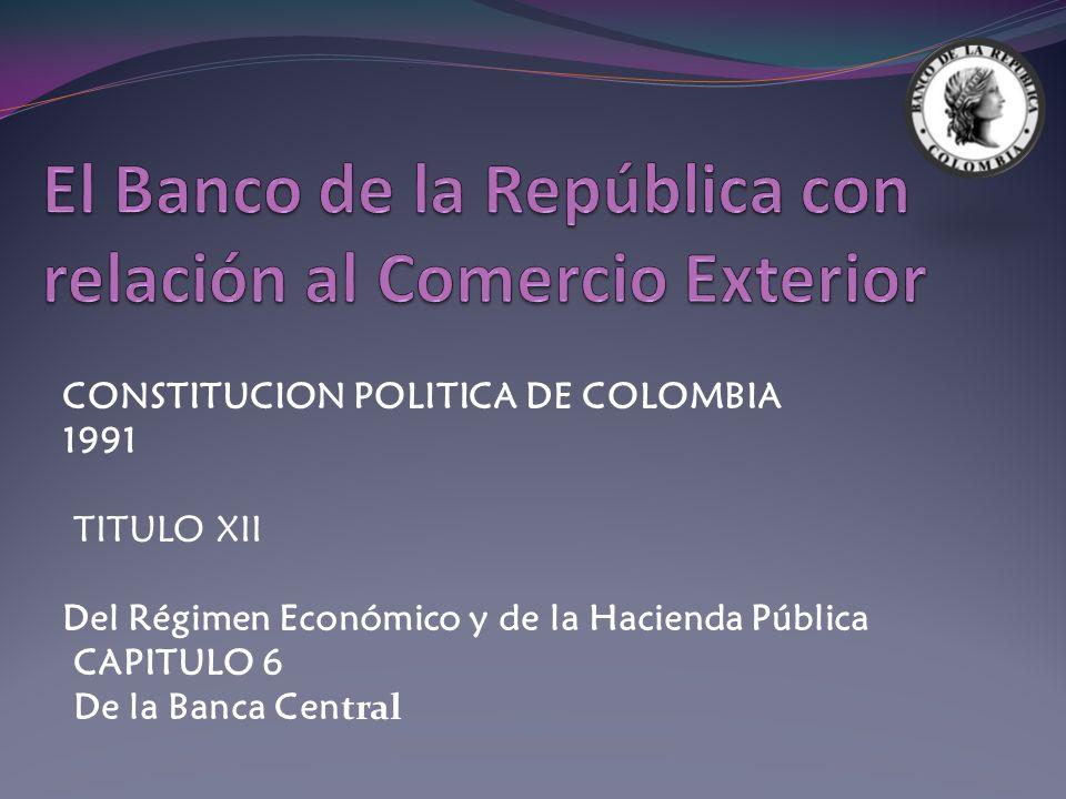 El Banco de la República con relación al Comercio Exterior