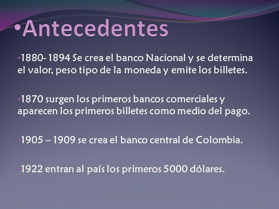 Antecedentes 1880- 1894 Se crea el banco Nacional y se determina el valor, peso tipo de la moneda y emite los billetes.