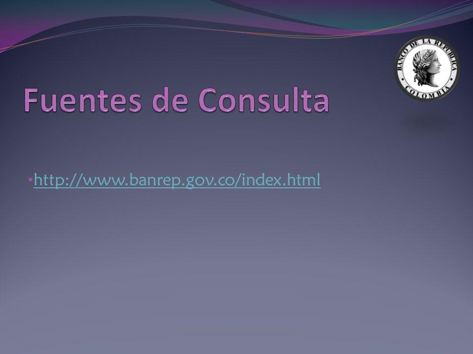Fuentes de Consulta http://www.banrep.gov.co/index.html