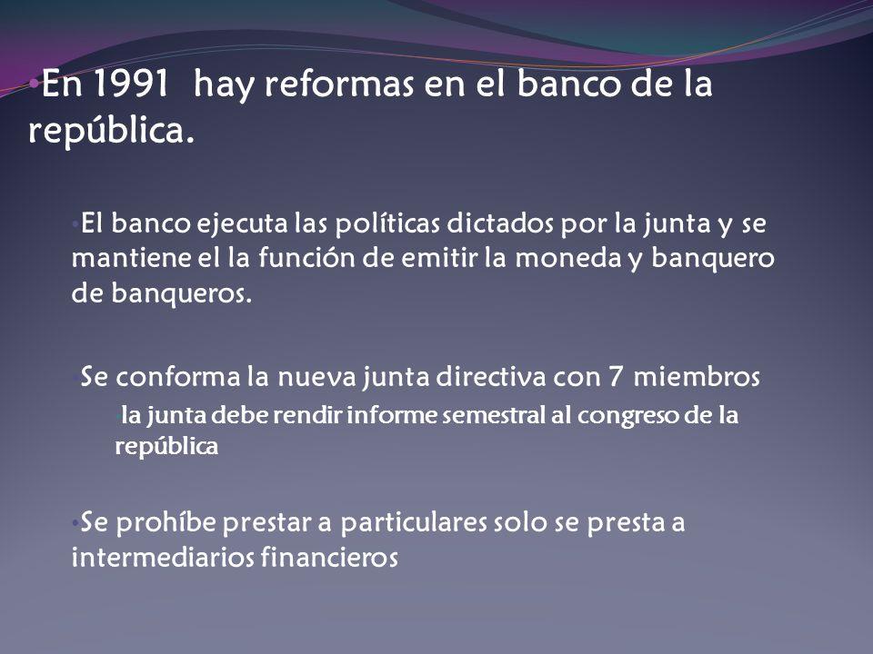 En 1991 hay reformas en el banco de la república.