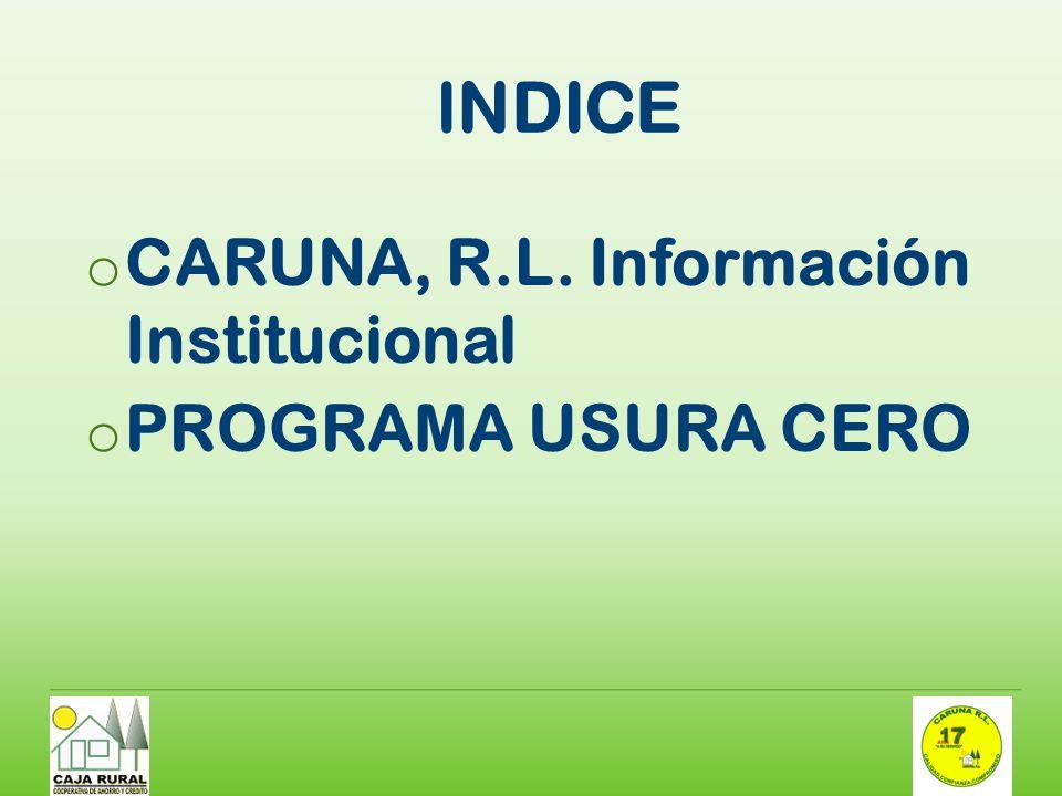 INDICE CARUNA, R.L. Información Institucional PROGRAMA USURA CERO
