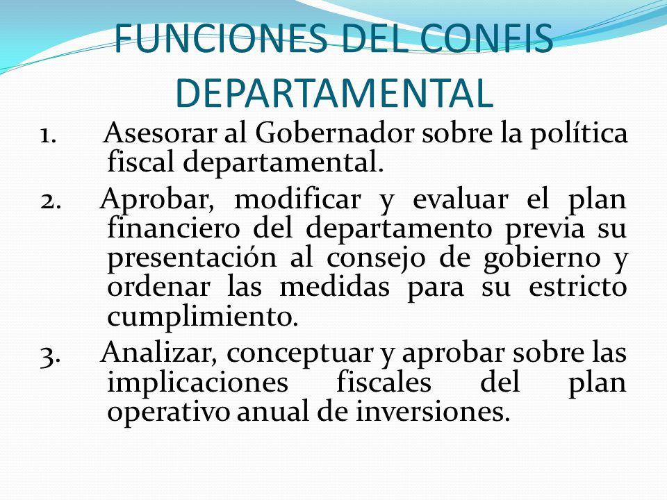 FUNCIONES DEL CONFIS DEPARTAMENTAL
