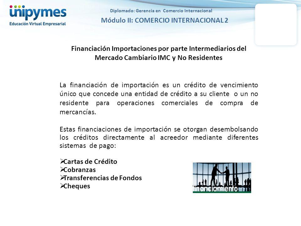 Financiación Importaciones por parte Intermediarios del Mercado Cambiario IMC y No Residentes