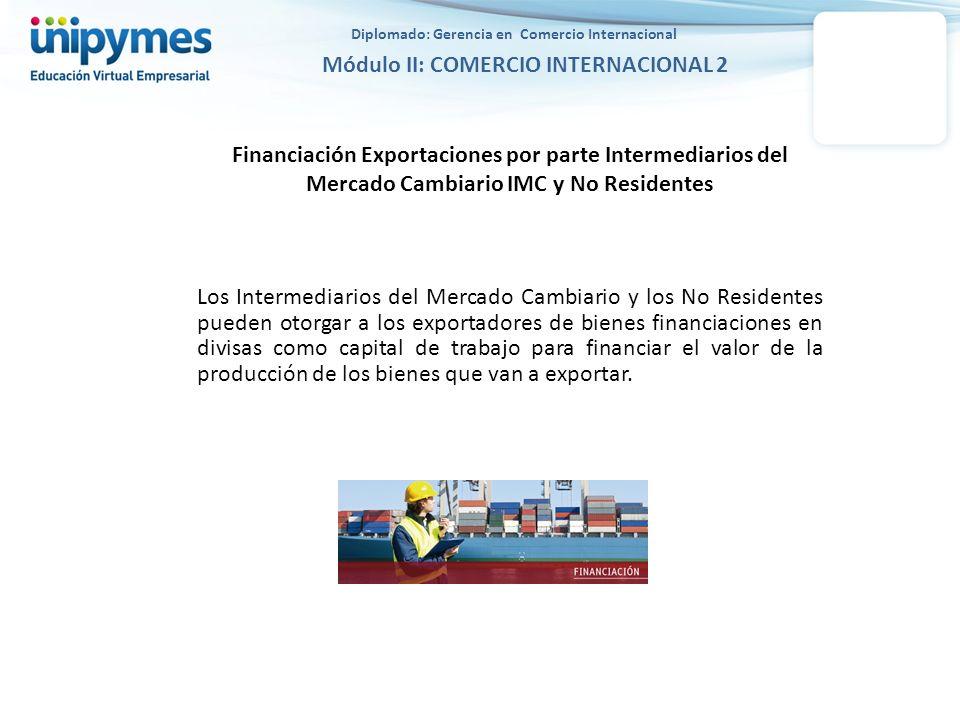 Financiación Exportaciones por parte Intermediarios del Mercado Cambiario IMC y No Residentes