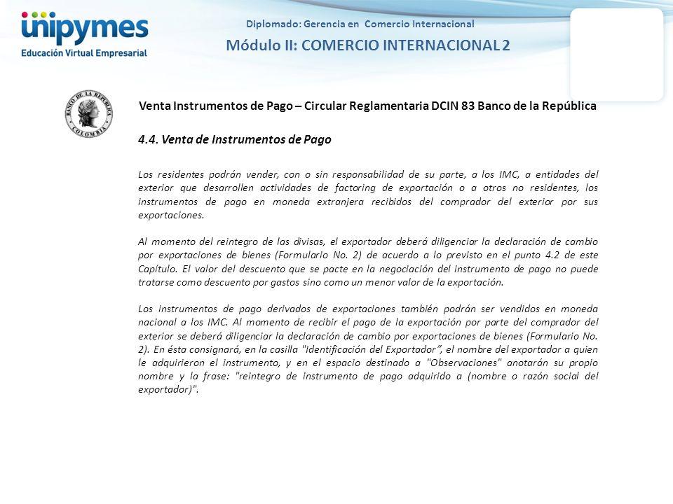 Venta Instrumentos de Pago – Circular Reglamentaria DCIN 83 Banco de la República