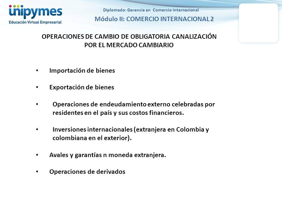 OPERACIONES DE CAMBIO DE OBLIGATORIA CANALIZACIÓN POR EL MERCADO CAMBIARIO