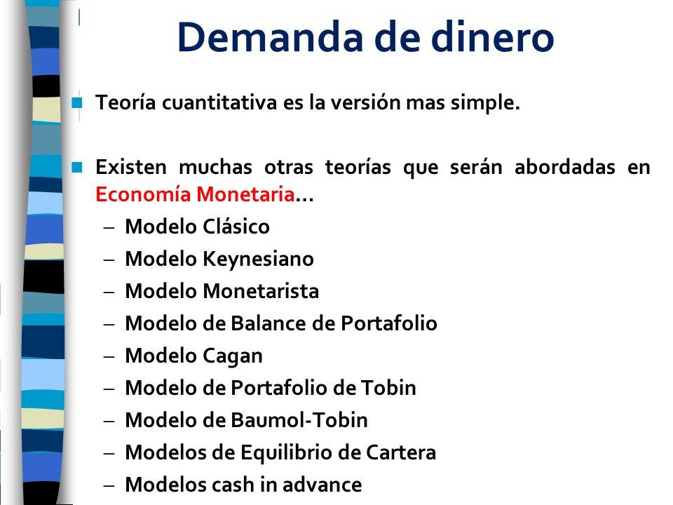 Demanda de dinero Teoría cuantitativa es la versión mas simple.