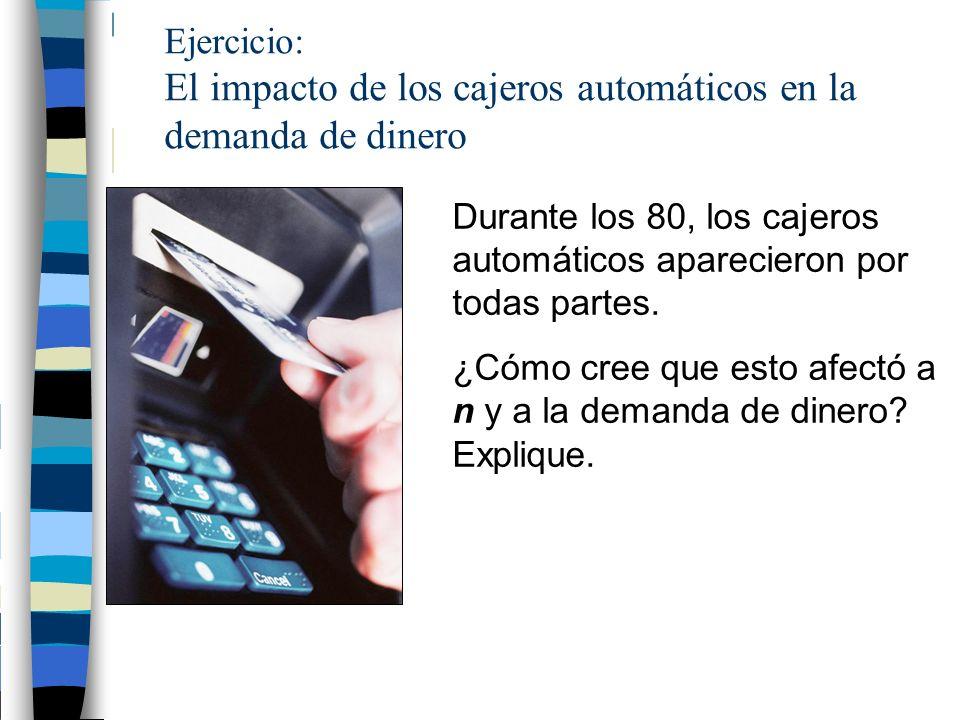 Ejercicio: El impacto de los cajeros automáticos en la demanda de dinero
