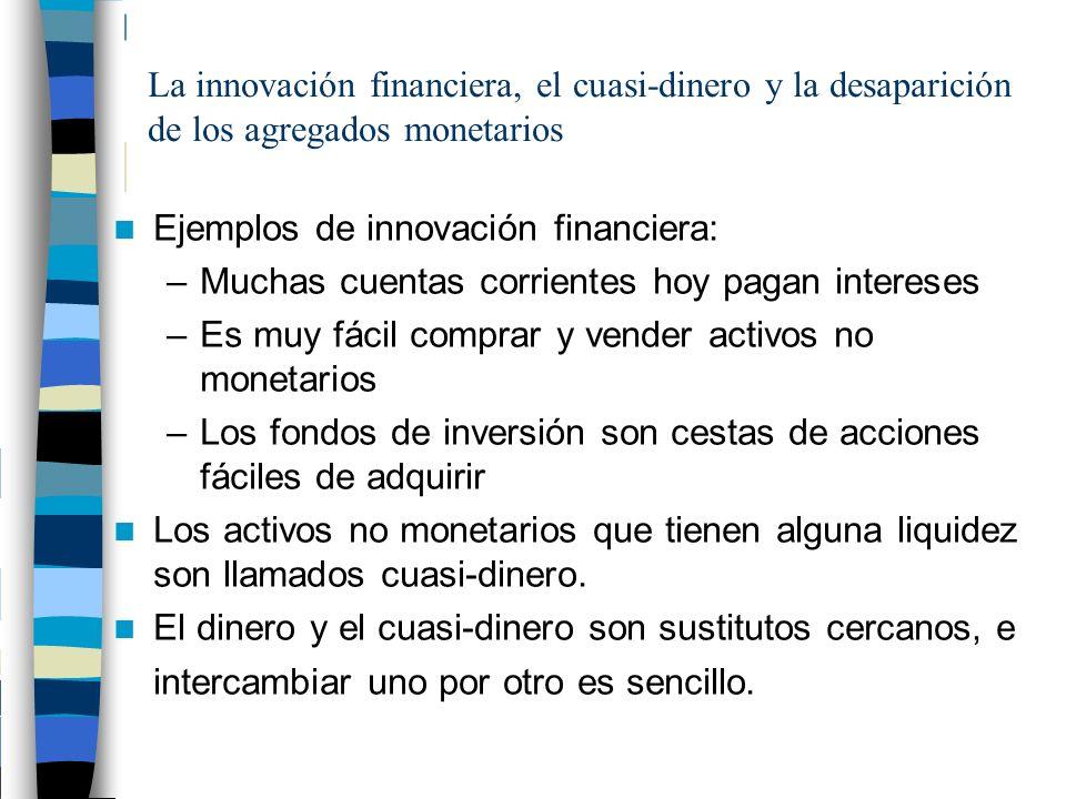 La innovación financiera, el cuasi-dinero y la desaparición de los agregados monetarios