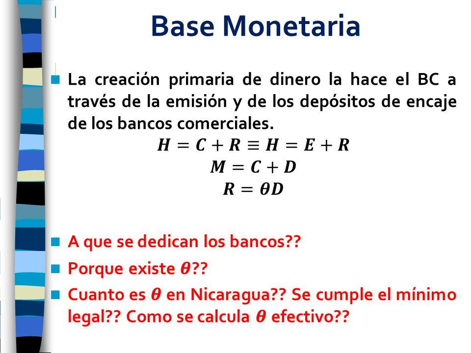 Base Monetaria La creación primaria de dinero la hace el BC a través de la emisión y de los depósitos de encaje de los bancos comerciales.