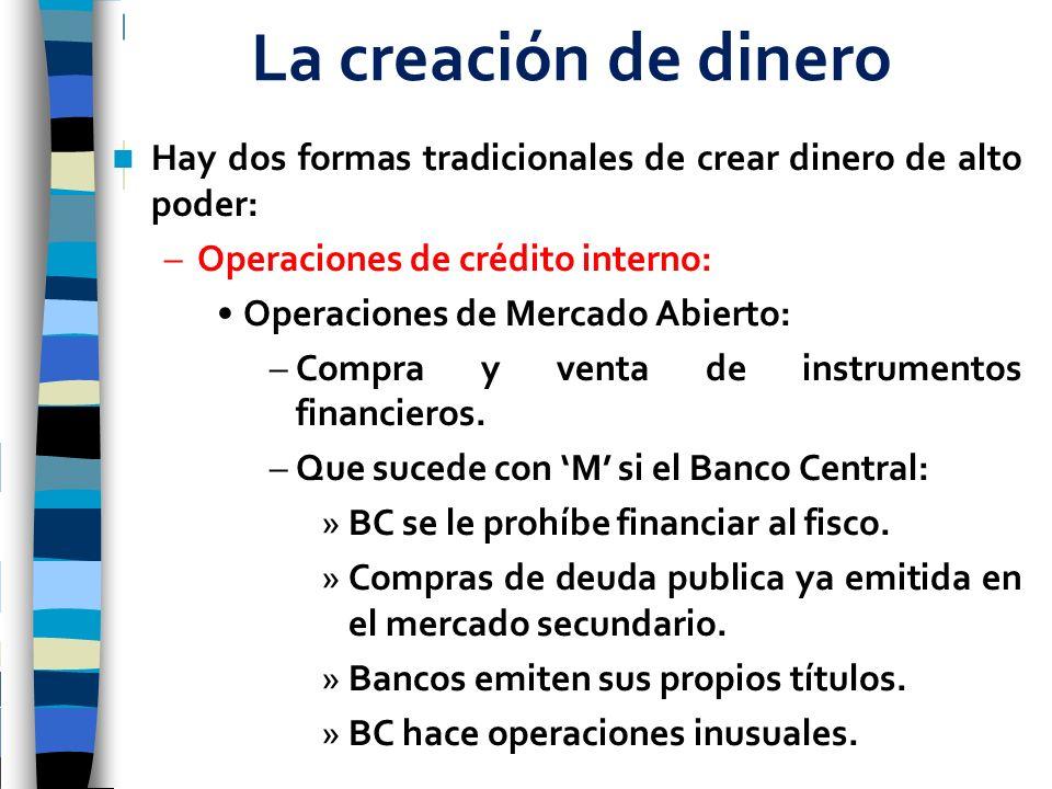 La creación de dinero Hay dos formas tradicionales de crear dinero de alto poder: Operaciones de crédito interno: