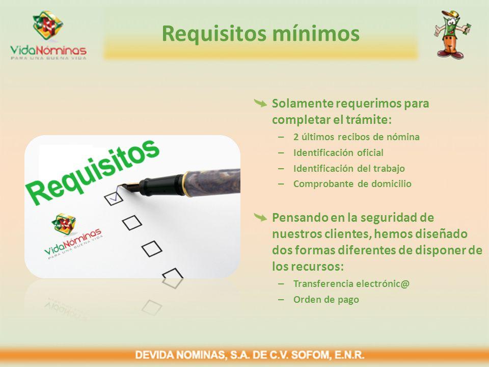 Requisitos mínimos Solamente requerimos para completar el trámite:
