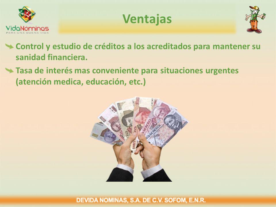 Ventajas Control y estudio de créditos a los acreditados para mantener su sanidad financiera.