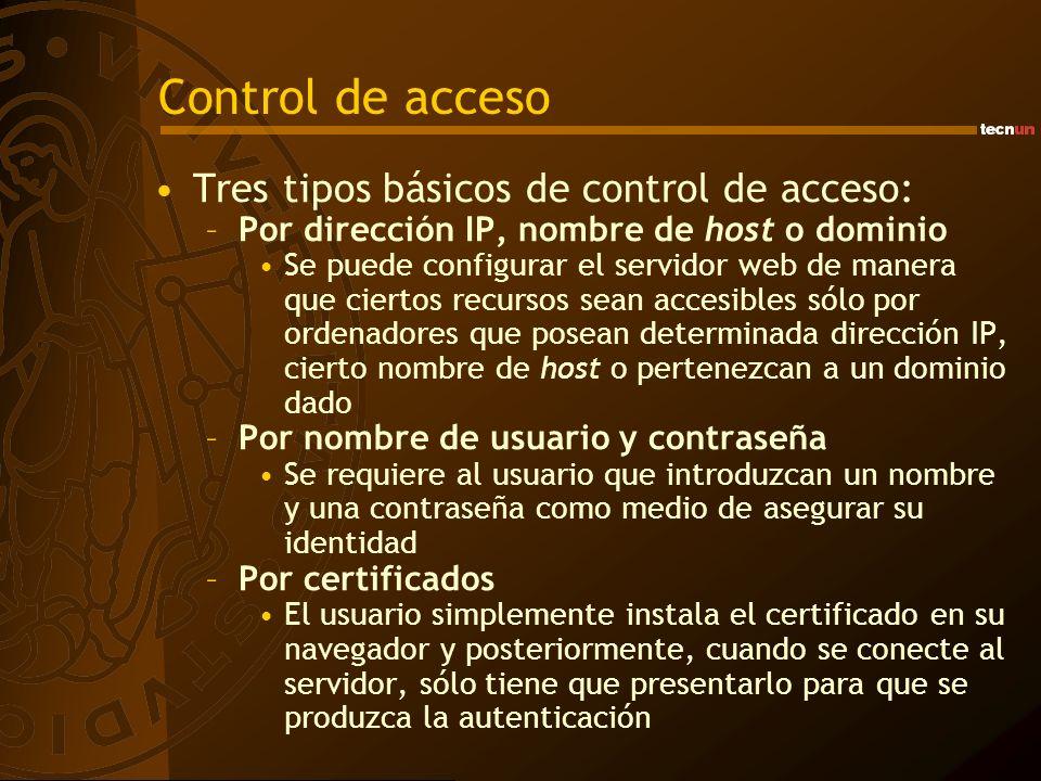 Control de acceso Tres tipos básicos de control de acceso:
