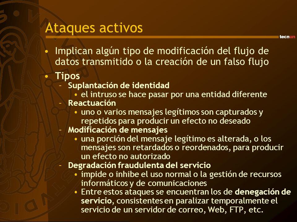 Ataques activos Implican algún tipo de modificación del flujo de datos transmitido o la creación de un falso flujo.