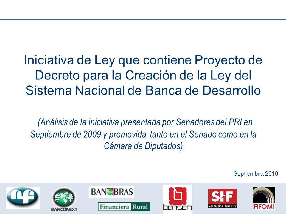 Iniciativa de Ley que contiene Proyecto de Decreto para la Creación de la Ley del Sistema Nacional de Banca de Desarrollo